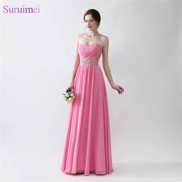 24a668ec Hot Pink Prom Dresses Beaded Sash Sweetheart Floor Length Chiffon Long  Girls Prom Gown