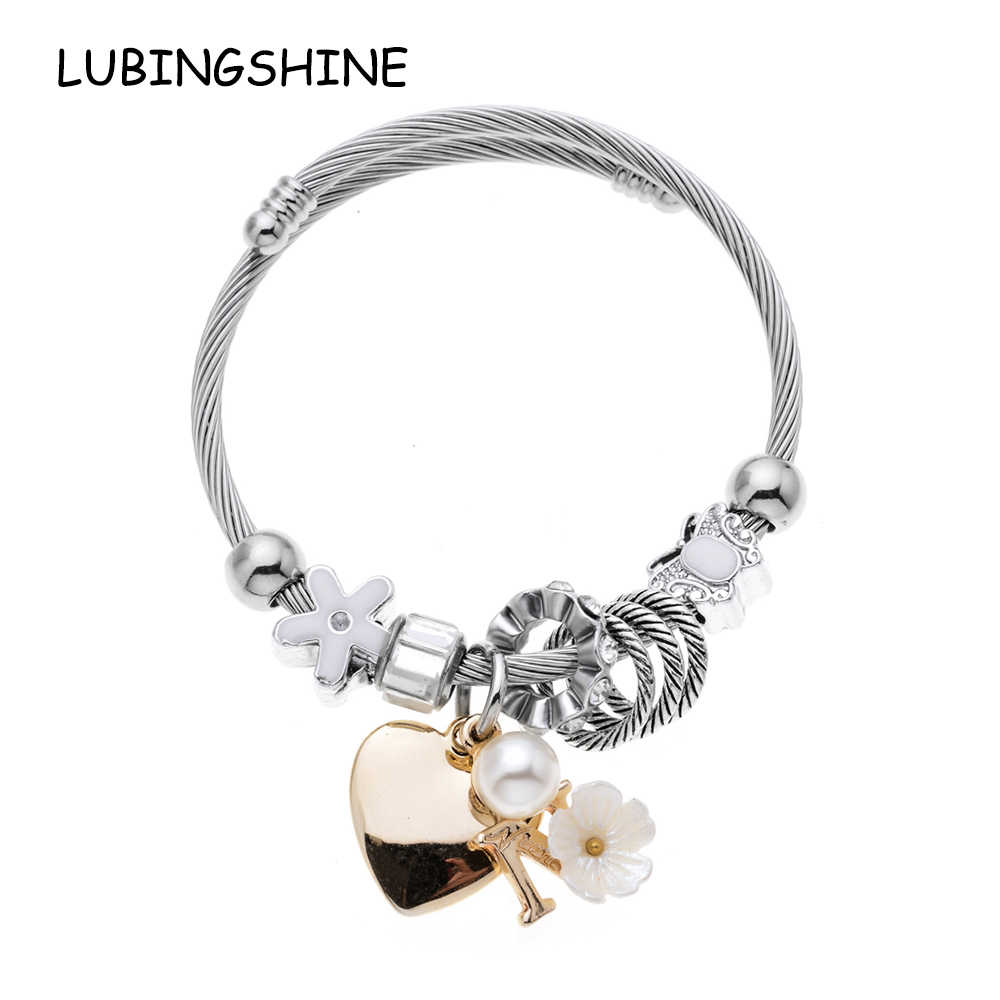 LUBINGSHINE Vintage Charms Heart Flower Bracelets For Women New Crystal Stainless Steel Cable Bracelets & Bangles Pulseras DIY