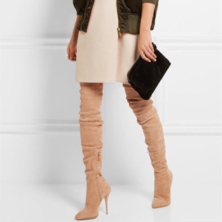 2018 весенняя женская обувь Женские ботинки до колена высокие сапоги ног сумка выше колена на высоком каблуке сапоги до колена Большие размер