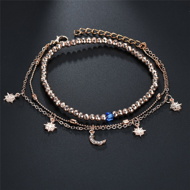 ZORCVENS 2020 Boho Style Star Moon Anklet Fashion Multilayer Foot Chain New Ankle Bracelet for Women Beach Accessories Gift 4