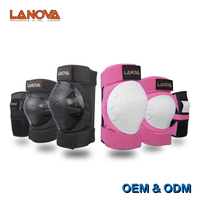 LANOVA Adult Child Knee Pads Elbow Pads Wrist Guards 3 In 1 Protective Gear Set For