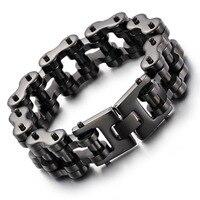 Black 22mm men 's bracelet titanium steel punk personalized jewelry jewelry tide boys fashion accessories wholesale