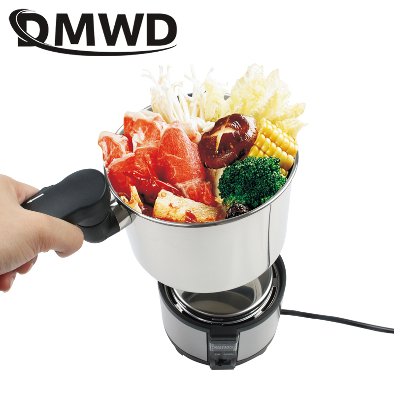 DMWD Dual Voltage Electric Travel Cooker Food Steamer Portable Stainless Steel Rice Cooking Pot Soup Stew Skillet Student Hotpot multifunctional cooking pot soup pot steamer with stainless steel steamer diameter 20cm for electromagnetic furnace gas stove