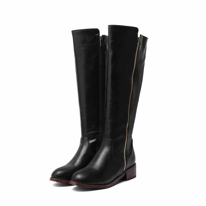 MORAZORA 2020 büyük boy 34-48 diz yüksek çizmeler kadın fermuar yuvarlak ayak kare topuklu platform ayakkabılar sonbahar kış çizmeler kadın