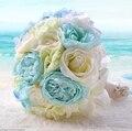 Рамос novia 2016 мода новый летний пляж букет невесты романтический синий искусственные свадебные букеты цветов дешевую bruidsboeket