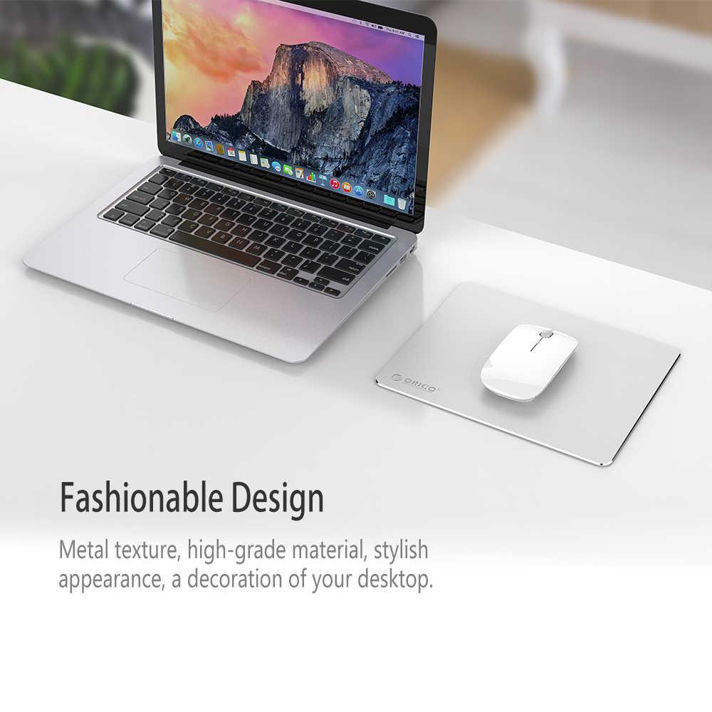 Orico Aluminium Mouse Pad Gaming dengan 1.5 Mm Aluminium 0.5 Mm Karet Komputer Mousepad untuk Rumah Kantor Bisnis (AMP2218)