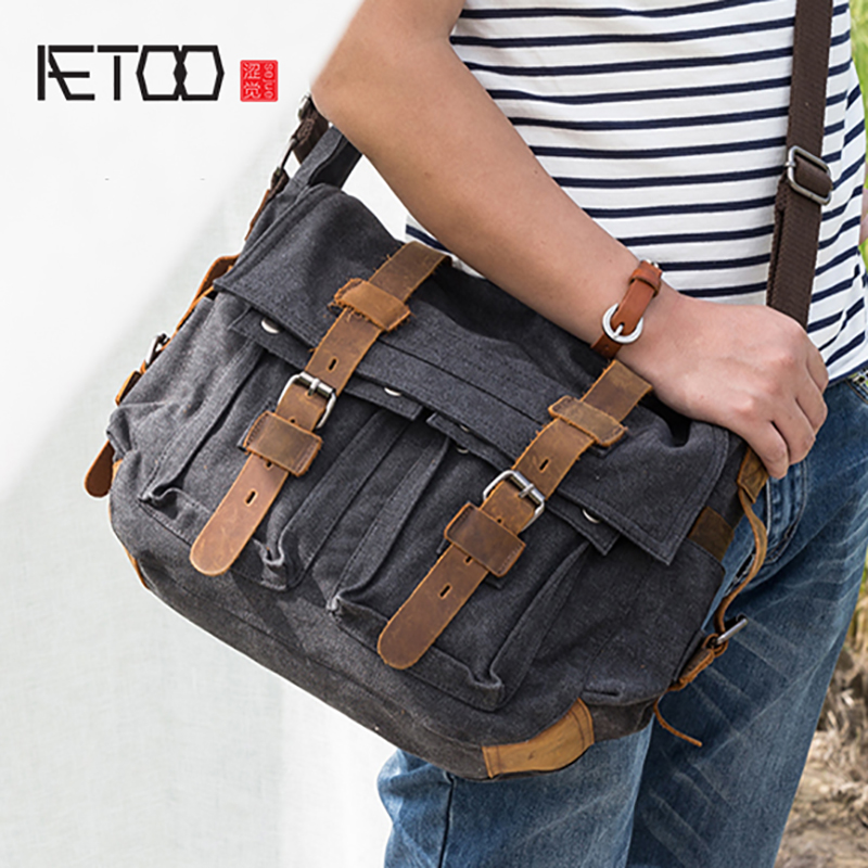 AETOO Casual canvas bag mens shoulder crossbody bag man oblique cross sackAETOO Casual canvas bag mens shoulder crossbody bag man oblique cross sack