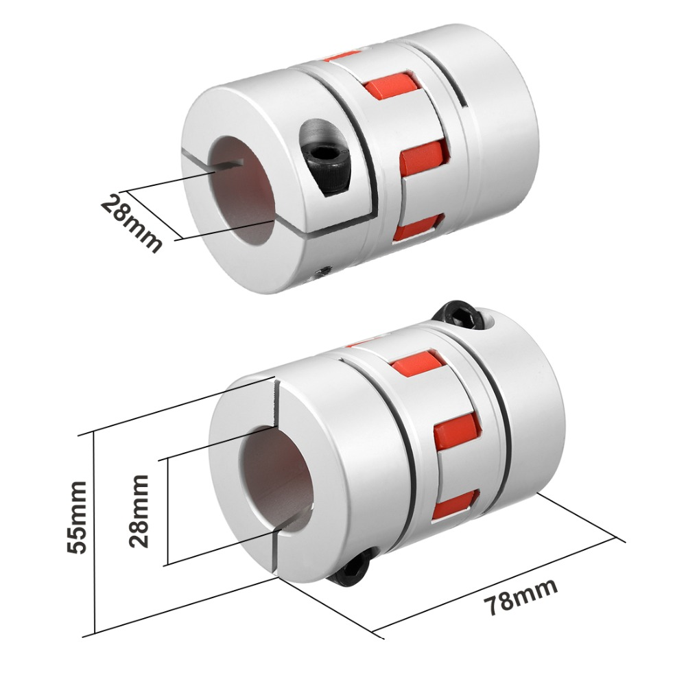 Uxcell High Quality L78xD55 28mm to 28mm Shaft Coupling Bore Flexible Coupler Joint High Hardness for M8 Servo Stepped Motor sk200 6e sk230 6e sk330lc 6e solenoid valve yb35v00003f1 fit for holland