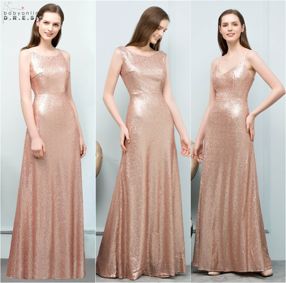 Sexy Rose Gold Sequin Bridesmaid Dress Long Elegant Backless A Line Dress for Wedding Party Robe