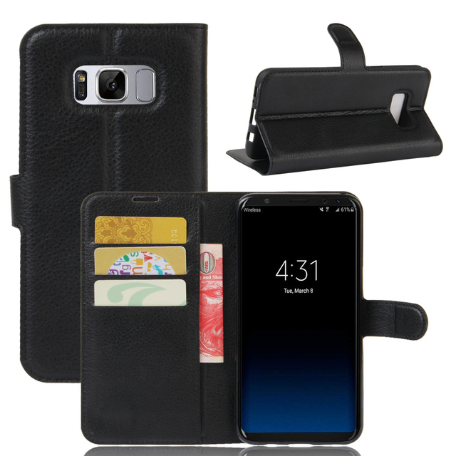 the best attitude 71b7e 58897 US $4.74 5% OFF|S8 Plus Case for Samsung Galaxy S8+ Cases Wallet Card Stent  Lichee Pattern Flip Leather Protect Cover S8Plus SM 8+ Samsung8+-in Wallet  ...