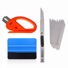 EHDIS 4pcs Car Tools Carbon Fiber Vinyl Wrap Film Squeegee Scraper Sticker Install Kit Cutter Knife Styling Accessories