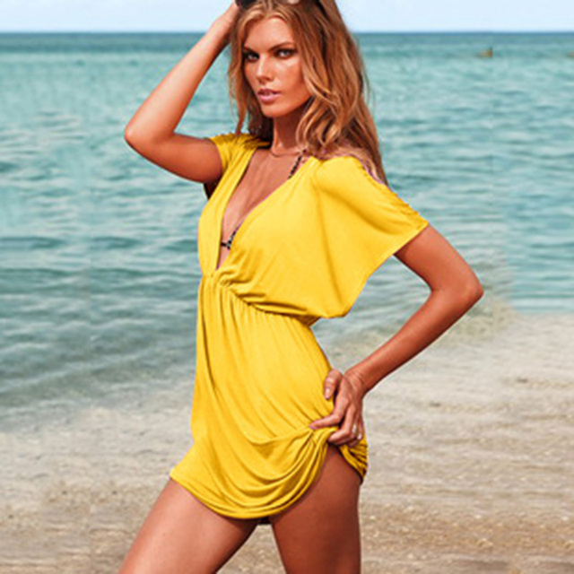 European Style Robe De Plage Summer Women Elastic Ice Swimwear Deep V-Neck Solid Short Sleeves Beach Cover Up 6