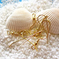 Free Shipping,100pcs/lot Hypo Allergenic Stainless Steel Earring Hook gold plated 2cm,