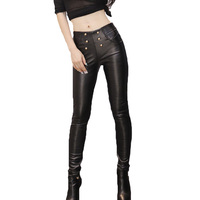 High Quality Ladies High Waist Leggings Faux Leather Windbreak Female Trousers Elastic Waist Winter Women Pants