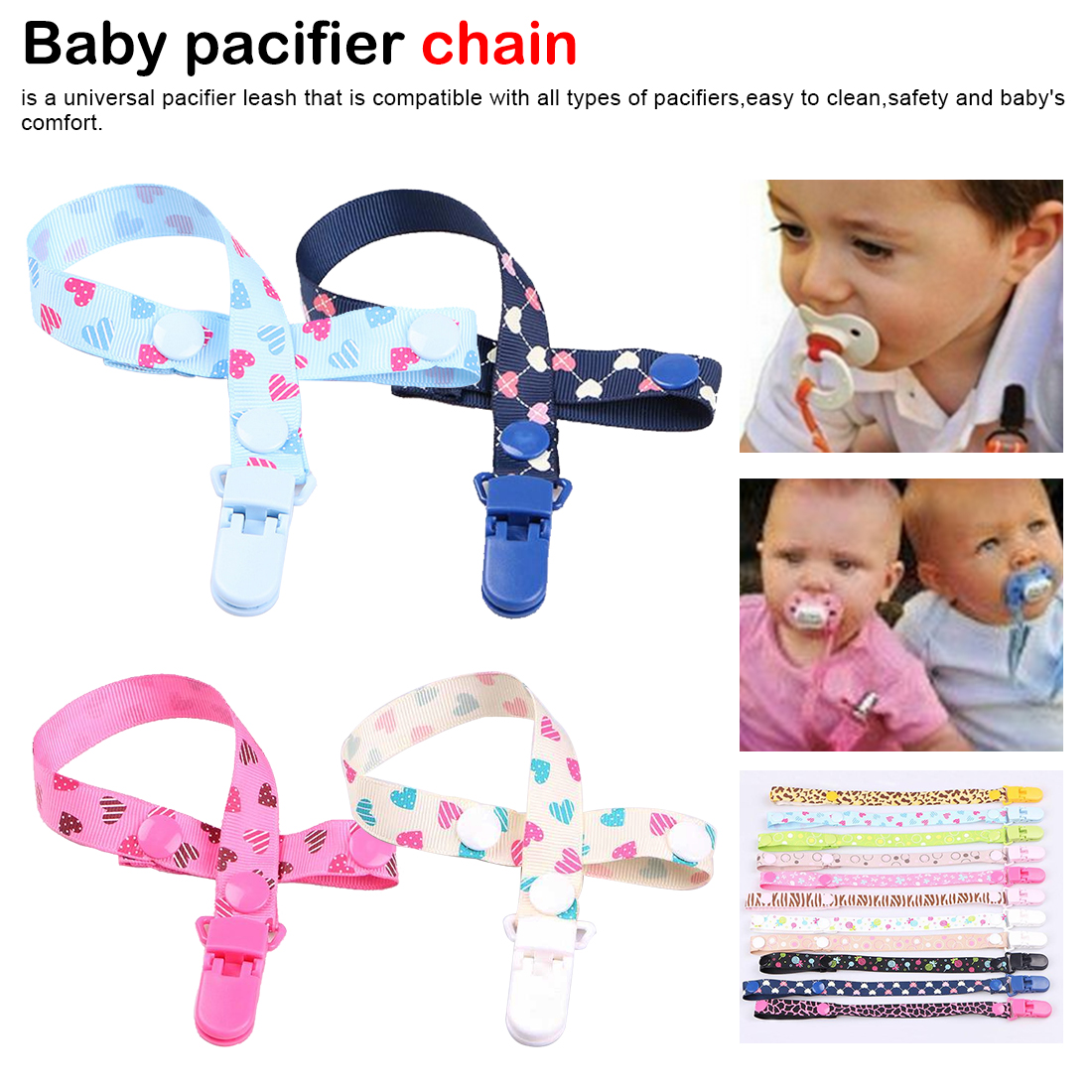 Boy Girl Adjustable Nipple Holder Pacifier Clips Teether Strap Soother Chain
