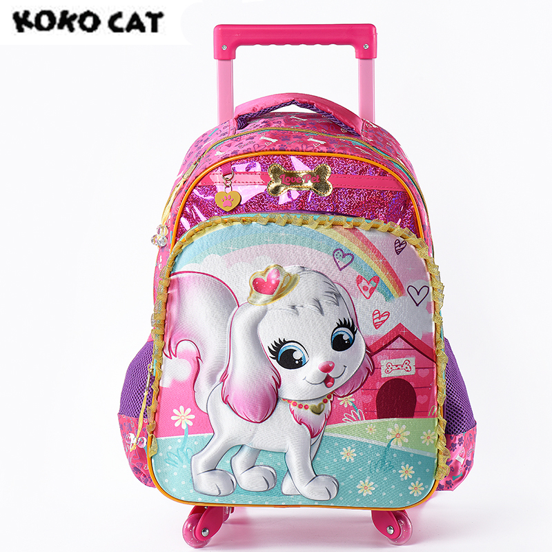 2017 Cartoon 3D Kids Children School Trolley Bag Cute Dog Bags Girls Bookbag  School Trolley Bag for Teens Girls Student Bag waterproof cartoon cute thermal lunch bags wome lnsulated cooler carry storage picnic bag pouch for student kids