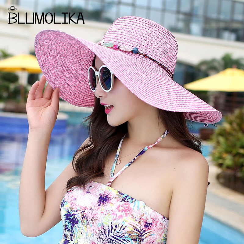 912b6ec735f 2018 new hot big brim sun hats for women folding colorful stone hand made  straw hat female casual shade hat summer hat beach cap-in Sun Hats from  Apparel ...