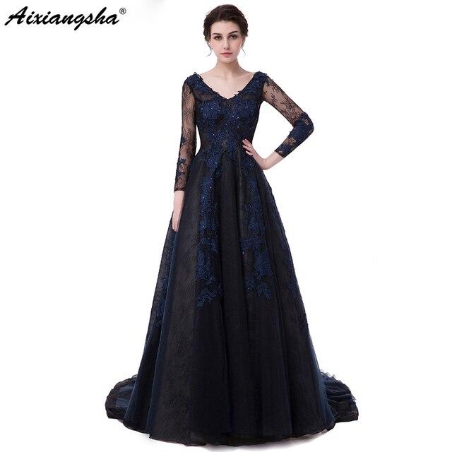 52a5730b6b Nuevo azul marino largo vestidos De baile 2018 V cuello De encaje De manga  larga Vestido