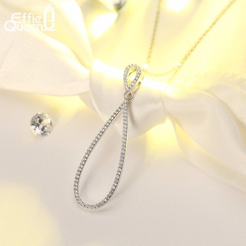 Effie Reine Belle Big Infinity Cristal Pendentif Colliers pour les Femmes Véritable 925 En Argent Sterling De Bijoux De Mariage De Mode BN55