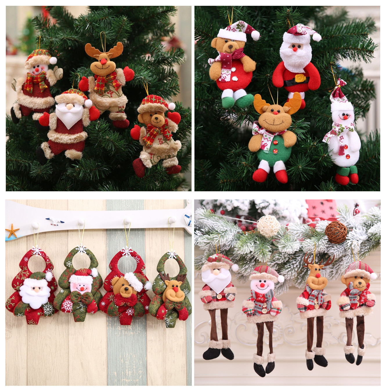 Christmas Decoration Pendants toy Outside Xmas Tree Hanging Ornament Santa Claus Snowman bear ELK Doll for Home Decor Kids Gift