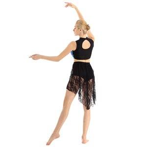 Image 5 - Tiaobug vestido collant assimétrico brilhante, sem mangas, renda, collant, mulheres, figura, skate, vestido contemporâneo, traje de dança