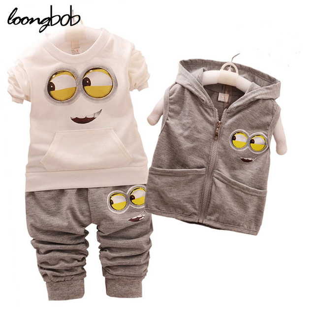 2eaa97b9928 3PCS Spring Autumn Kids Clothing Sets Toddler Unisex Coat jacket+T Shirt+Pants  Children
