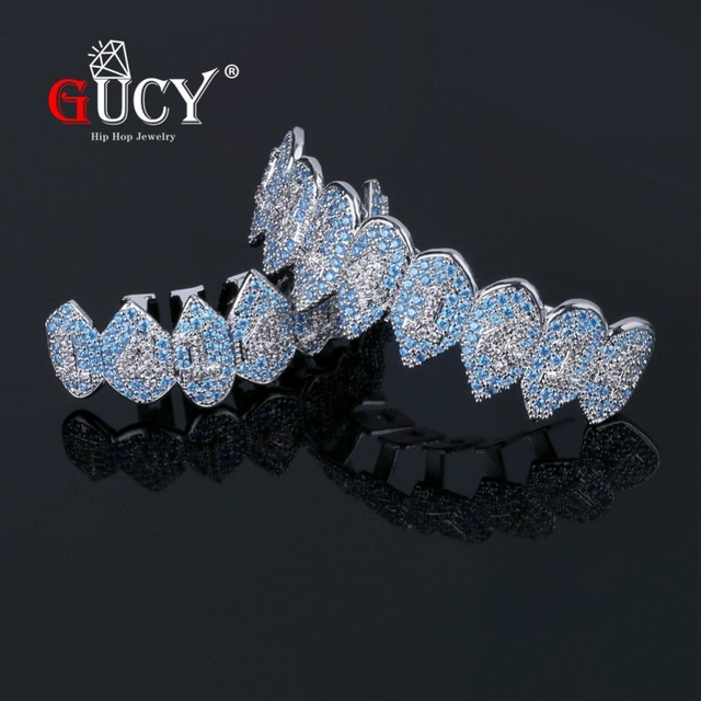 GUCY Iced Out Hip Hop 1414 Teeth Grillz Bling AAA Cubic Zircon Silver Color Eight Top & Bottom Vampire  Grills Set For Gift