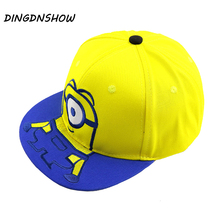 [DINGDNSHOW] 2019 Fashion Baseball Cap Kids Cartoon Hip Hop Hat Cotton Lovely Minions Snapbacks Hat for Boys and Girls цена