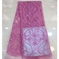 Hot selling Light purple african Sequins swiss voile lace high quality best cotton France lace fabric for wedding 5 yards/piece