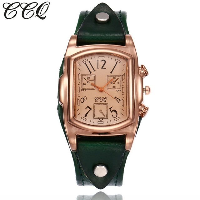 CCQ Brand Fashion Vintage Cow Leather Bracelet Watch Casual Women Sport Wrist Wa