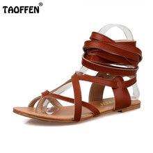 TAOFFEN Größe 30-50 Frauen Schuhe Klassische Design Gladiator Sandalen Frauen Flache Schuhe Böhmen Lace-Up Sandalen Frauen sandalen PA00608