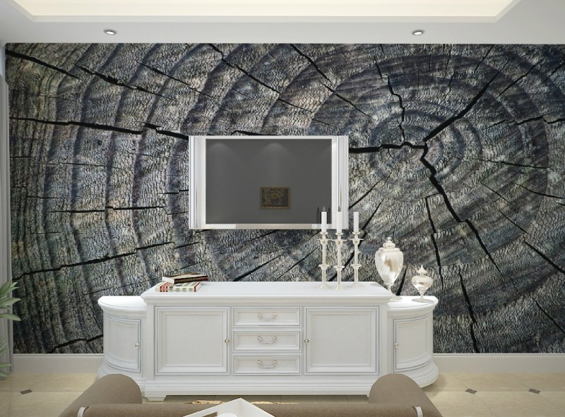 цены  Free Shipping Modern minimalist wallpaper mural ring tree gray space wallpaper TV sofa living room bedroom background wall