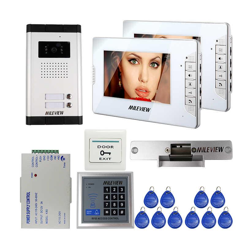"""السلكية الداخلي شقة 2 شاشة 7 """"هاتف باب ملون بفيديو إنترفون كيت ل 2 الأسرة + RFID التحكم + سترايك قفل شحن مجانا"""