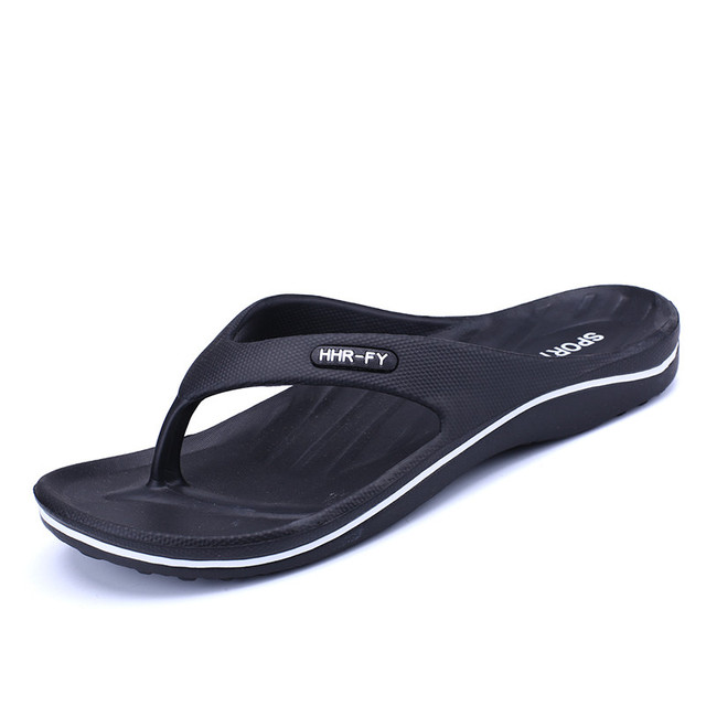 b6167d94b Summer Men s Slippers Black Flip Flops Boy Flats Open Toe Black Flip Flops  Outdoor Massage Casual Pu Fashion Sandals Beach Shoes