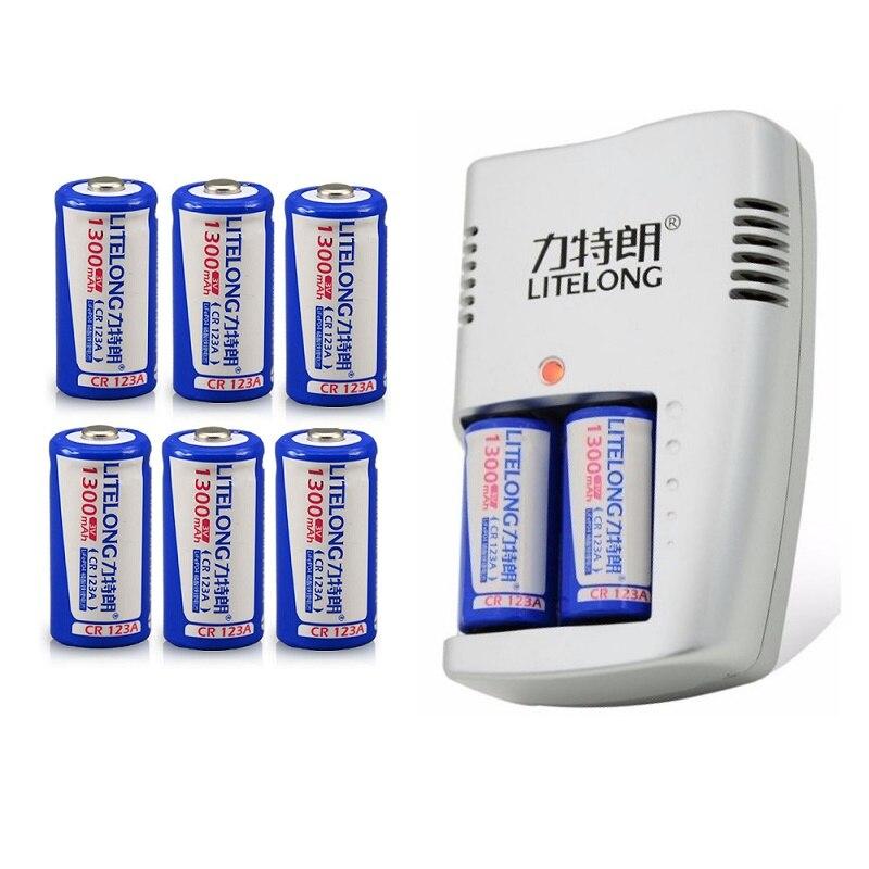 LITELONG 1300mAh CR123A LiFePo4 batterie Rechargeable + 2 fentes chargeur Intelligent Intelligent pour batterie 3V CR 123A