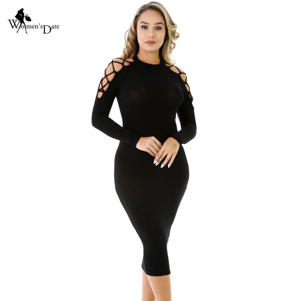 WomensDate 2016 Autumn Women Bandage O-neck <font><b>Long</b></font> Sleeve Sexy Sheath Black Netty Strapless <font><b>Rib</b></font> <font><b>Knitted</b></font> <font><b>Dress</b></font> Winter Midi <font><b>Dress</b></font>