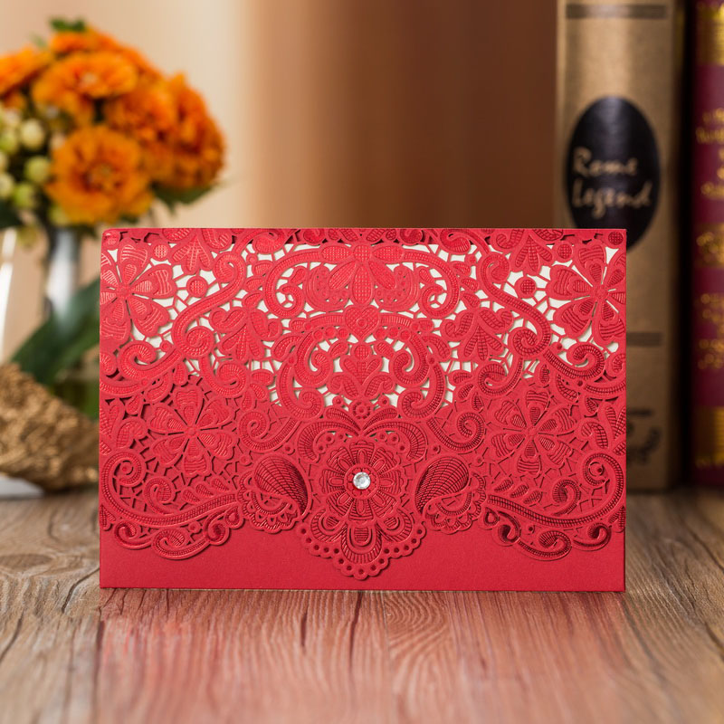 1pcs Sample Gold Red Laser Cut Luxury Flora Wedding Invitations Card Elegant Diamond Lace Favor Wedding Event & Party Supplies (2)