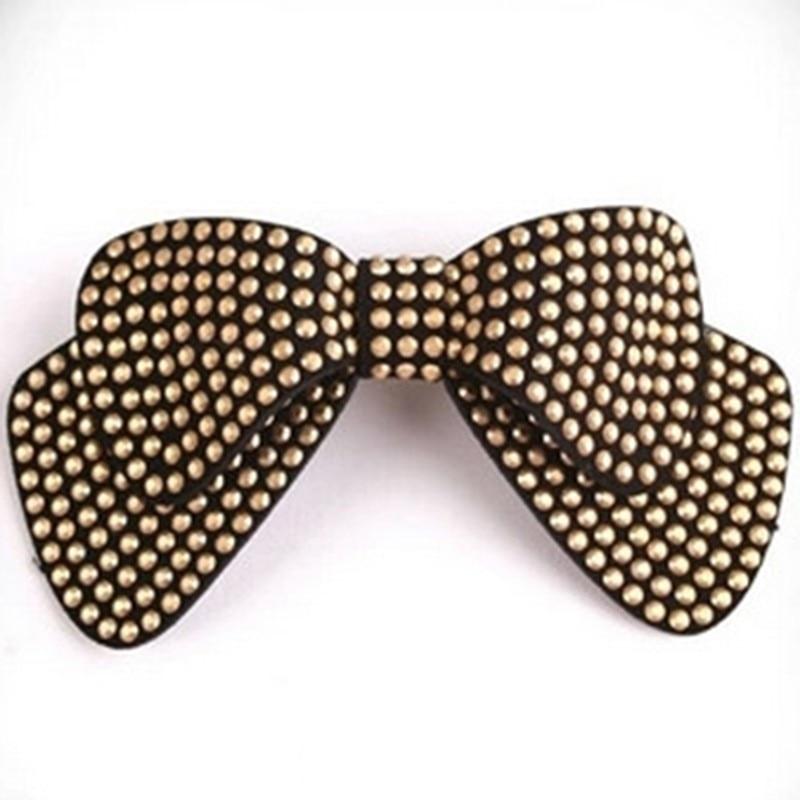Горячая распродажа! двухслойная лента для волос с бантиком, эластичная лента для волос со стразами, заколка для волос, аксессуары для волос - Окраска металла: 3