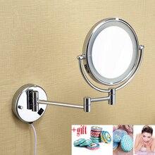 """LED lys makeup spejle 8 """"runde dobbeltside 3X / 1X spejle dobbelt arm forlænger kosmetisk vægmontering forstørrelsespejl til gave"""