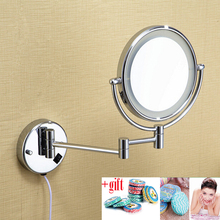 LED light makeup mirrors 8″ round dual sides 3X /1X mirrors dual arm extend cosmetic wall mount magnifying mirror for Gift