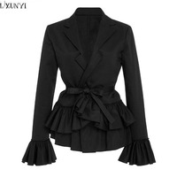 LXUNYI 2018 Spring Fashion Lace UP Short Slim Black Blazer Casual Dignified Elegant Long Sleeve Ruffle