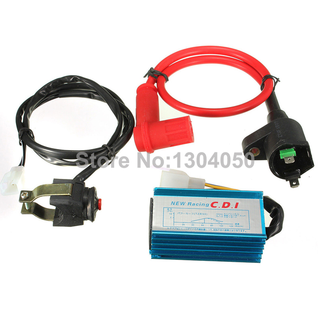 Motorcycle Racing Ignition Coil + CDI + Kill Switch Kit For 110cc 125cc Pit Dirt Bike