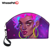 WHOSEPET PU Cosmetic Cases African Girls Style Printing Pattern Fashion Women Make Up Bags Round Mouth Zipper Mini Bag