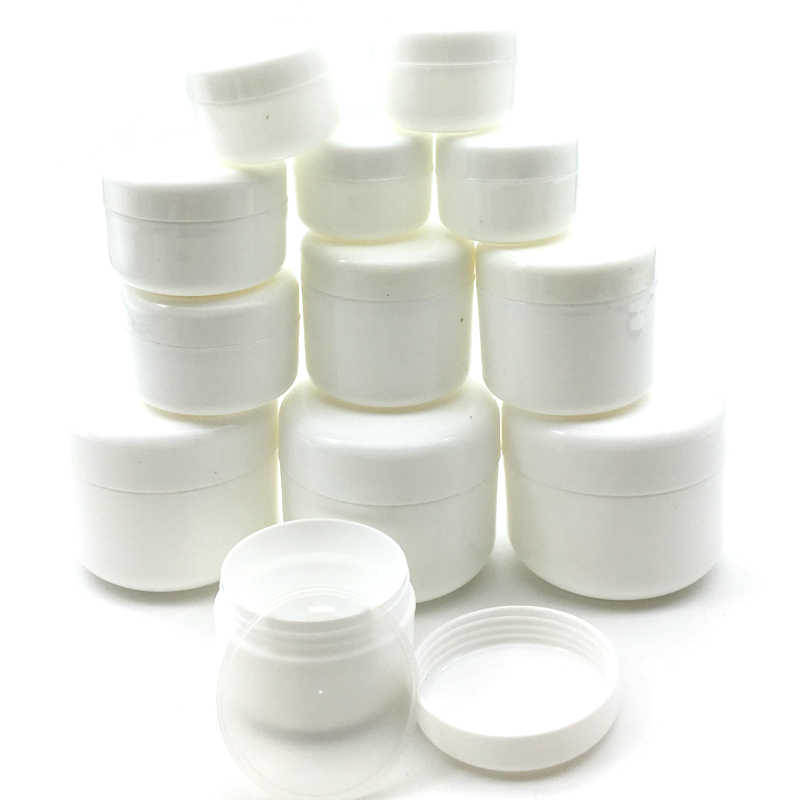 100Pcs 10g/20g/30g/50g Plastic Empty Makeup Jar Pot Refillable Sample Bottles Travel Face Cream Lotion Cosmetic Container White