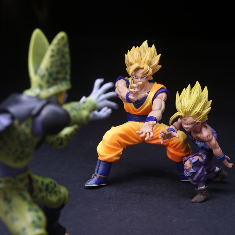 Anime Dragon Ball Z Dramatic Showcase Son Gokou & Cell & Son Gohan PVC Action Figure Collection Kids Toys Doll [pcmos] anime dragon ball z ros resolution of soldiers awaken son gokou 57 pvc figure 15cm 6in toys collection no box 5932 l
