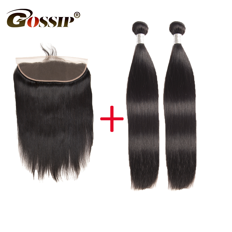 2 pcs Straight Hair Bundles With Frontal Gossip Remy Brazilian Hair Weave Bundles With Closure Double Weft Human Hair Extension