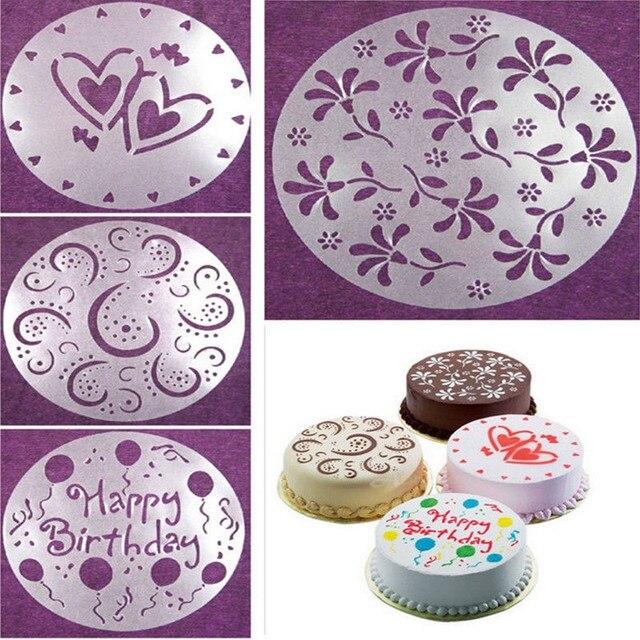 4 Pcsset Cake Spray Mold Happy Birthday Flowers Heart Pattern Spray Stencils Birthday Cake Decoration Mold Set In Cake Molds From Home Garden On