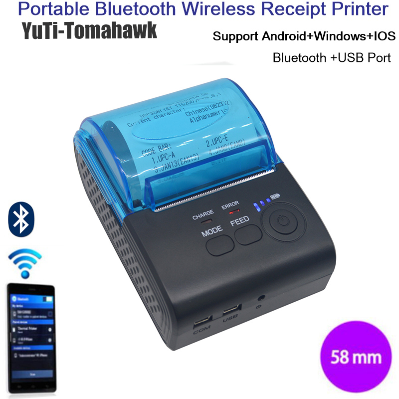 ФОТО Mini Wireless pocket thermal printer 58mm Handheld Android / IOS / Windows Bluetooth Receipt Printer For Supermarket Restaurant