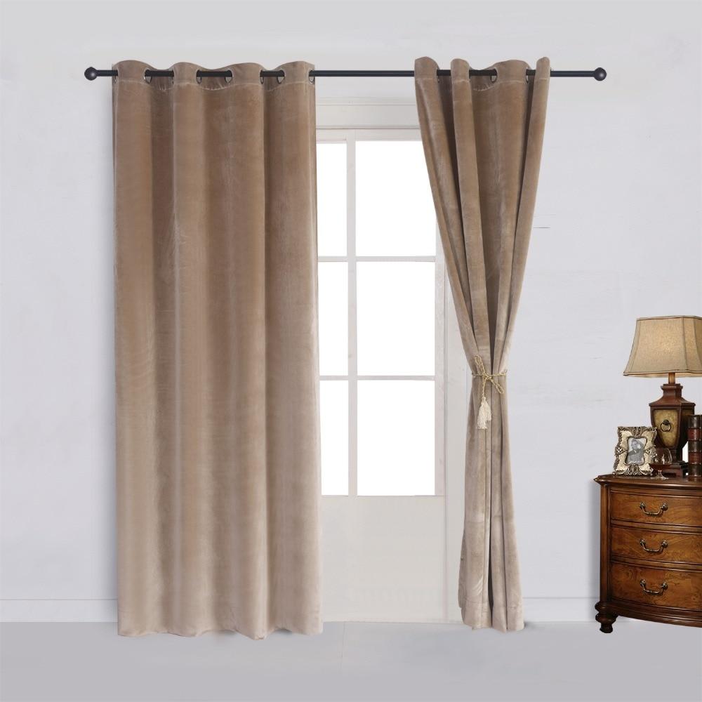 ()Solid Matt Heavy Velvet Curtain Drape Panel Blackout
