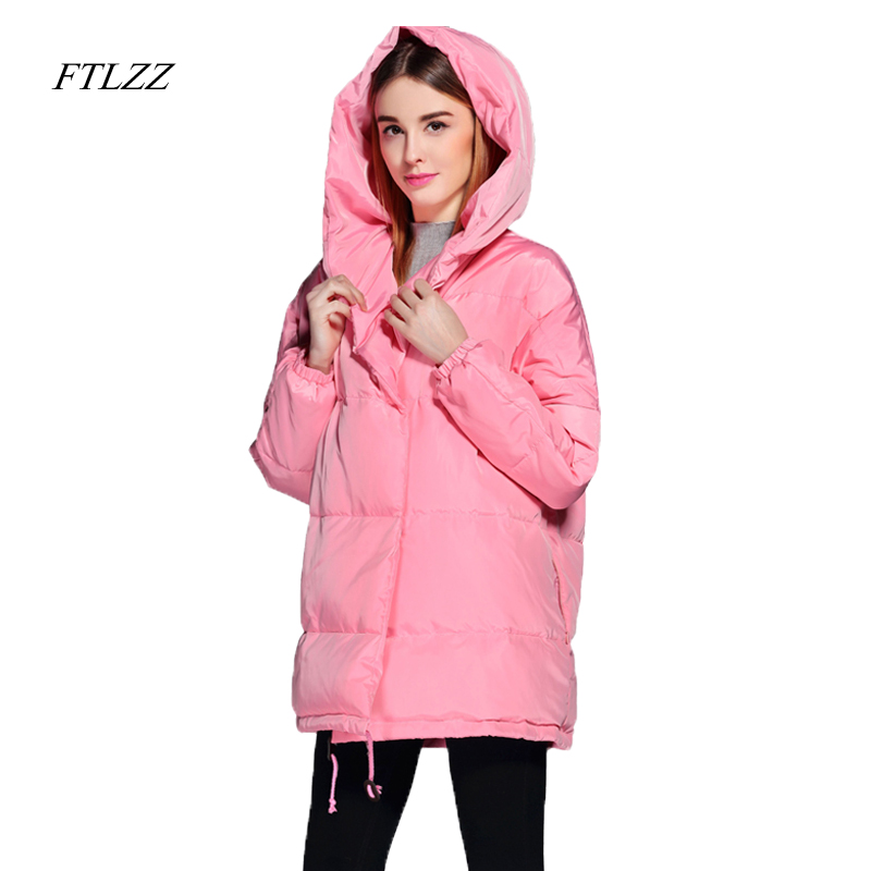 FTLZZ 2019 Winter Women   Down     Coats   Loose Fit Hooded Parkas Casual Warm Oversize Jackets Thickness White Duck   Down   Outwear